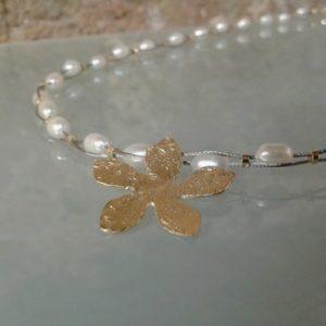 collar 2 hilos plata chapada en oro perla