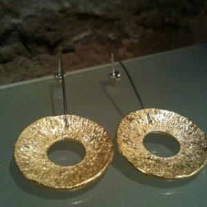 pendientes fiesta plata chapada en oro moartespaibcn