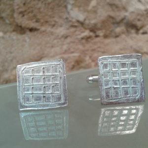 gemelos rajola plata hecho a mano