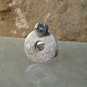 anillo redondo plata topacio moartespaibcn