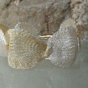 pulsera tardor titanium mesh dorada plateada