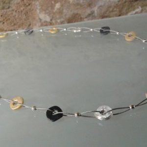 collar 2 hilos piezas plata chapada oxidada satinada