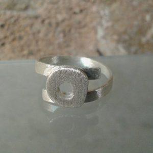 anillo plata satinada
