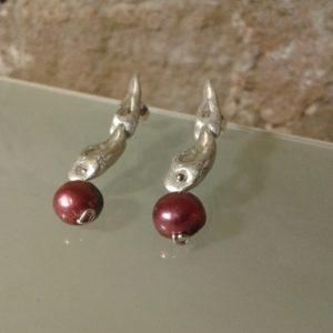 pendientes doble plata perla color moartespaibcn