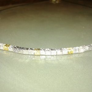 collar cubos plata chapada acero 9mm