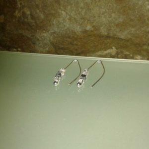 pendientes aguja mini cubos plata óxido